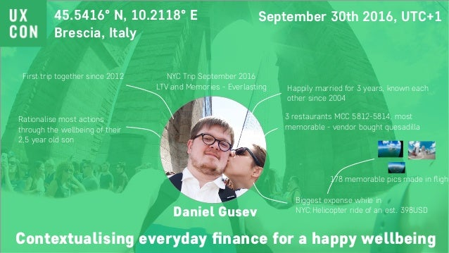 Contextualising everyday finance for a happy wellbeing 45.5416° N, 10.2118° E Brescia, Italy September 30th 2016, UTC+1 Ha...