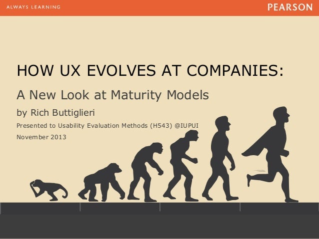 HOW UX EVOLVES AT COMPANIES: A New Look at Maturity Models by Rich Buttiglieri Presented to Usability Evaluation Methods (...