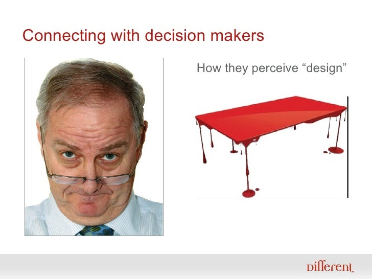 "Connecting with decision makers How they perceive ""design"""