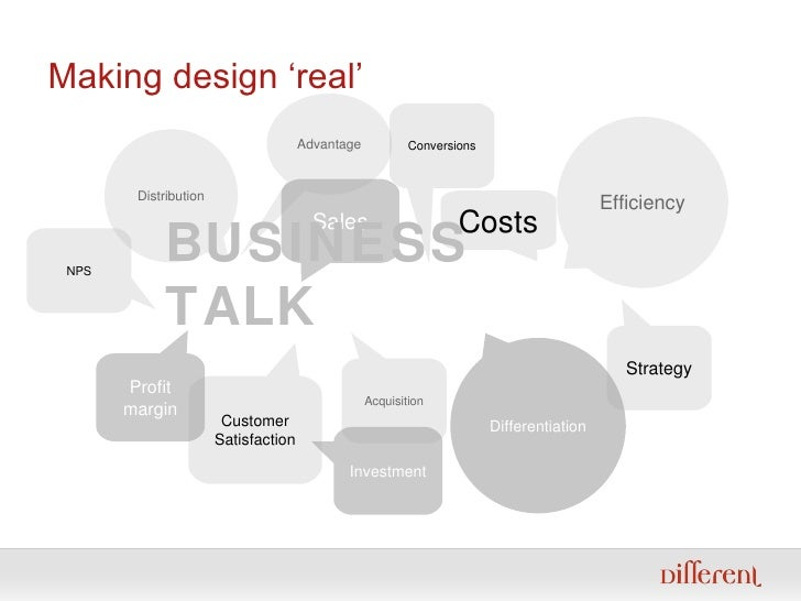 Making design 'real' Distribution Sales Conversions Acquisition Costs Efficiency Strategy Differentiation NPS Profit margi...
