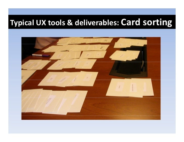 TypicalUXtools&deliverables:Cardsorting  yp                                         g