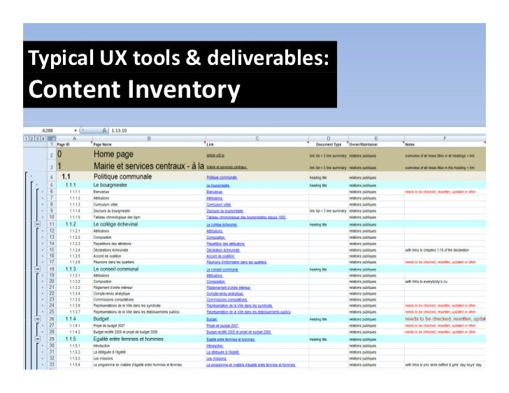 TypicalUXtools&deliverables: ContentInventory