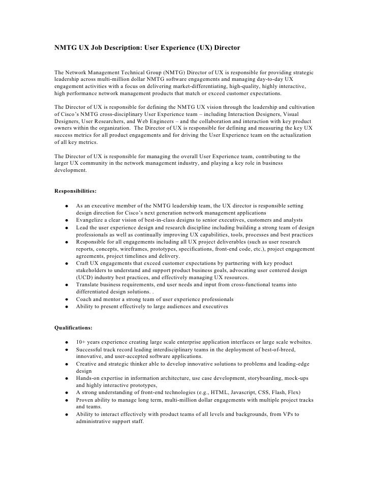 Marvelous NMTG UX Job Description: User Experience (UX) DirectorThe Network Management  Technical Group ...