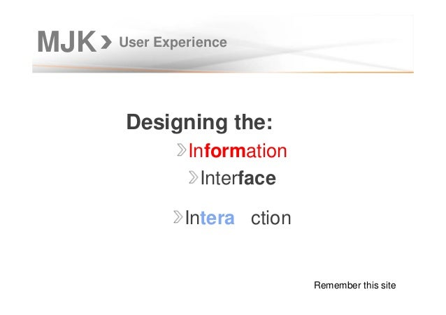 MJK User Experience Designing the: Information Interface Intera ction Remember this site
