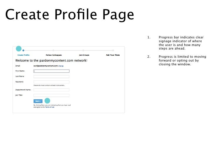 Create Profile Page -                   1.   Field completion check marks                        show on screen progress.  ...