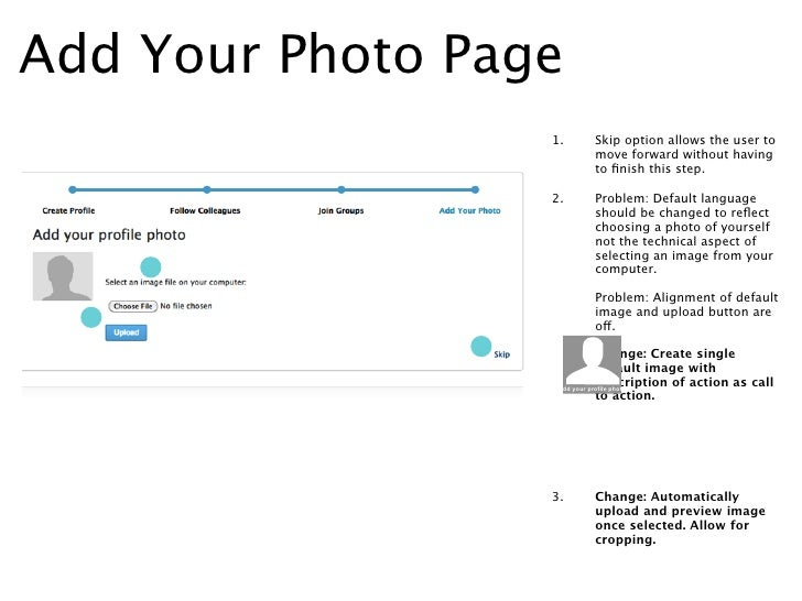 Add Your Photo Page -                  1.   Problem: Alignment of default                       image and upload button ar...