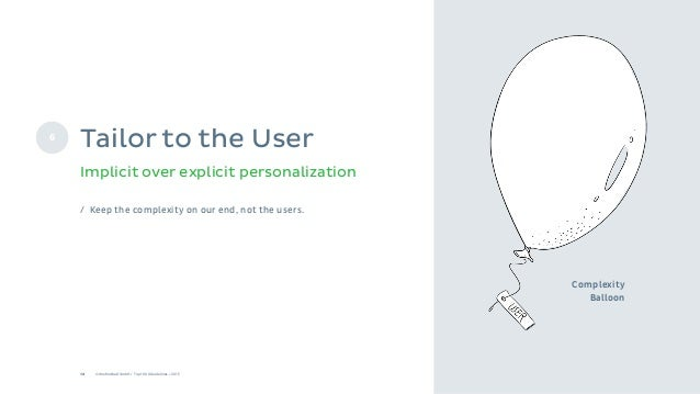 12 © Onefootball GmbH / Top 10 UX Guidelines / 2015 Complexity Balloon Implicit over explicit personalization 6 Tailor to ...