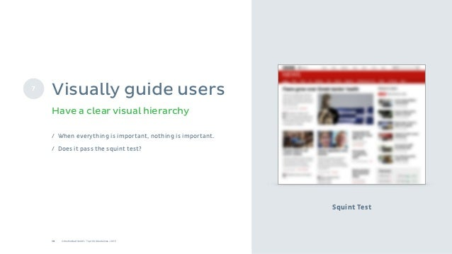 19 © Onefootball GmbH / Top 10 UX Guidelines / 2015 Squint Test Have a clear visual hierarchy 7 Visually guide users / Whe...