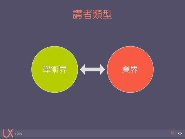 in China  講者類型  16  學術界業界
