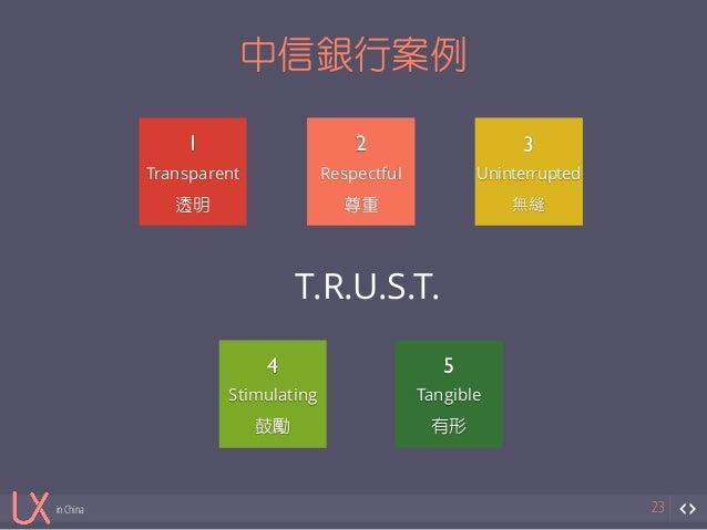 in China  中信銀行案例  23  1  Transparent  透明  2  Respectful  尊重  3  Uninterrupted  無縫  4  T.R.U.S.T.  Stimulating  鼓勵  5  Tang...