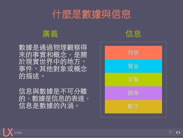 信息  符號  in China  什麼是數據與信息  36  符號  聲⾳音  字幕  圖像  數字  廣義  數據是通過物理觀察得  來的事實和概念,是關  於現實世界中的地⽅方、  事件、其他對象或概念  的描述。!  !信息與數據是不可...