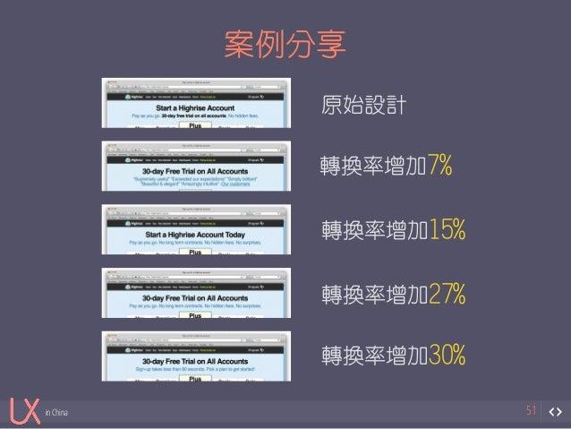 in China  案例分享  51  原始設計  轉換率增加7%  轉換率增加15%  轉換率增加27%  轉換率增加30%