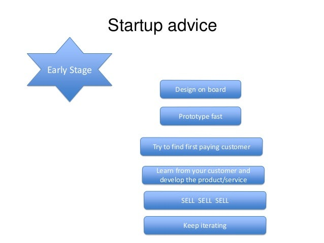 Startup advice Early Stage Design on board  Prototype fast  Try to find first paying customer  Learn from your customer an...