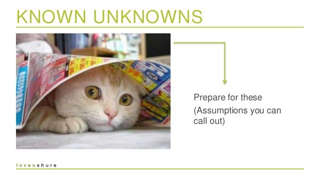 UNKNOWN UNKNOWNS React to these (Assumptions you can't call out) page 14
