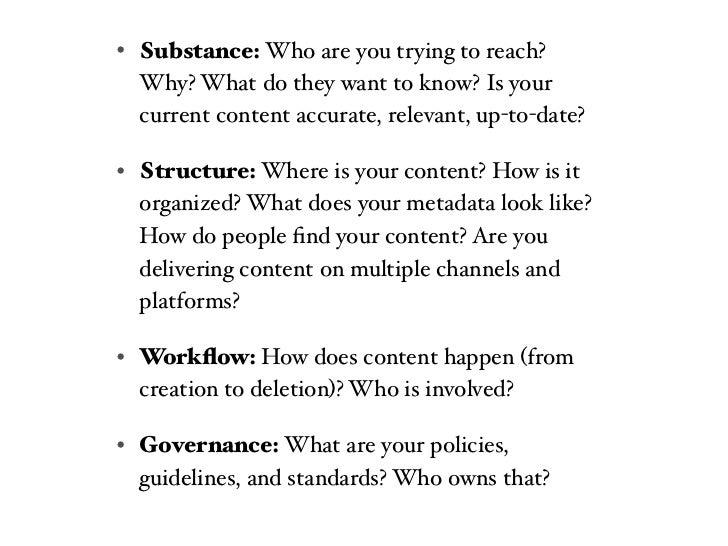 Define CONTENT• Core messaging          • Workflow design• Style guide             • Role descriptions• Topics / Transaction...
