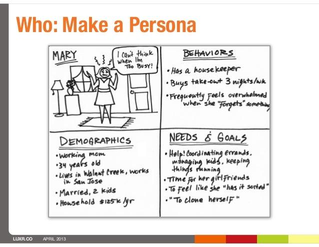 Who: Make a PersonaLUXR.CO   APRIL 2013