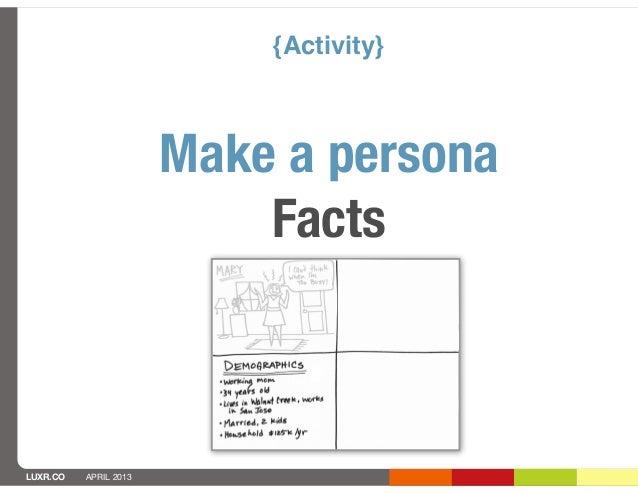 {Activity}                       Make a persona                           FactsLUXR.CO   APRIL 2013