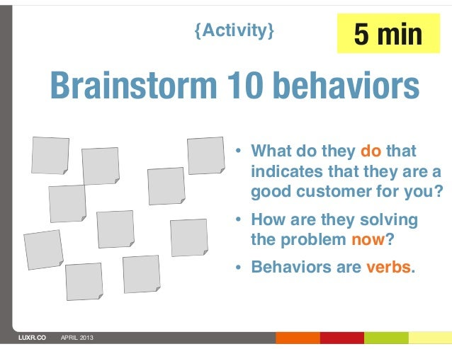 {Activity}         5 min          Brainstorm 10 behaviors                            • What do they do that               ...