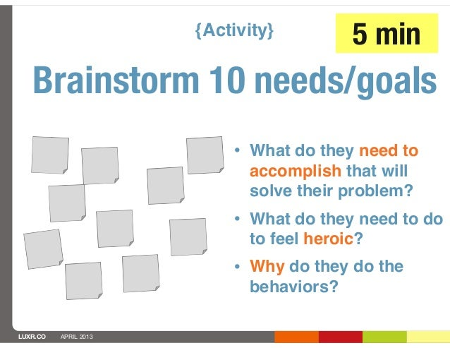 {Activity}         5 min   Brainstorm 10 needs/goals                           • What do they need to                     ...