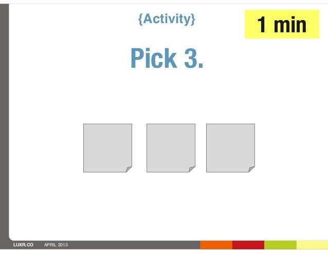 {Activity}                                    1 min                       Pick 3.LUXR.CO   APRIL 2013