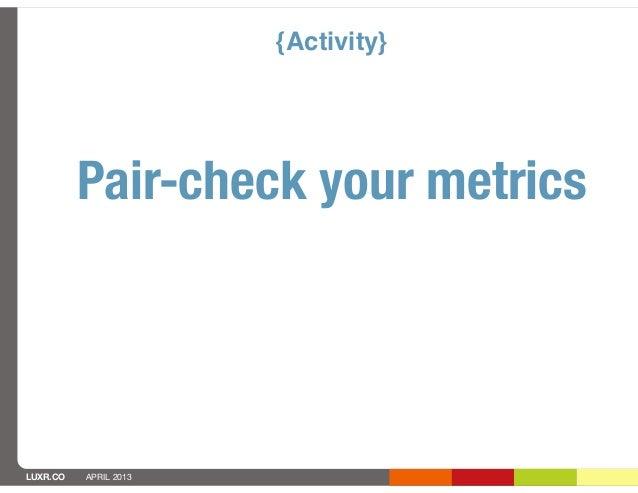 {Activity}          Pair-check your metricsLUXR.CO   APRIL 2013