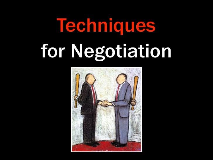Techniques for Negotiation