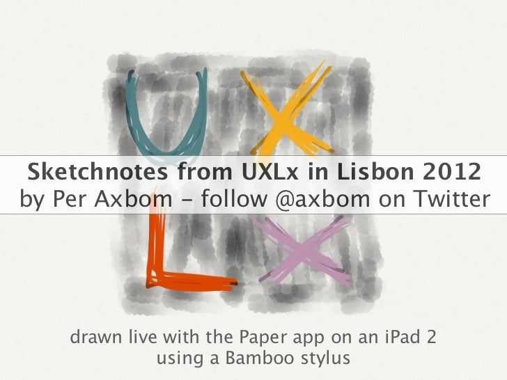 Sketchnotes from UXLx in Lisbon 2012by Per Axbom - follow @axbom on Twitter    drawn live with the Paper app on an iPad 2 ...