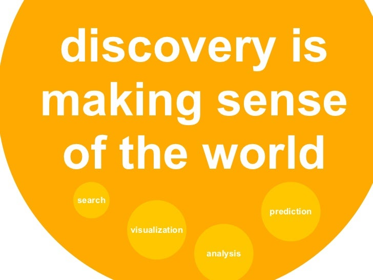 discovery ismaking sense of the world search                                     prediction          visualization        ...