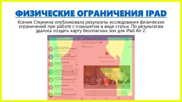 ФИЗИЧЕСКИЕ ОГРАНИЧЕНИЯ IPAD Ксения Стернина опубликовала результаты исследования физических ограничений при работе с планш...