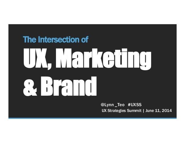 UX Strategies Summit | June 11, 2014 The Intersection of UX, Marketing & Brand @Lynn _Teo #UXSS