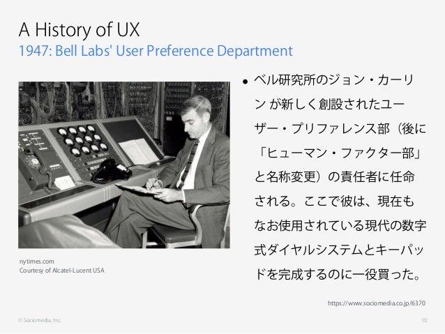© Sociomedia, Inc. 1947: Bell Labs' User Preference Department A History of UX • ベル研究所のジョン・カーリ ン が新しく創設されたユー ザー・プリファレンス部(後...