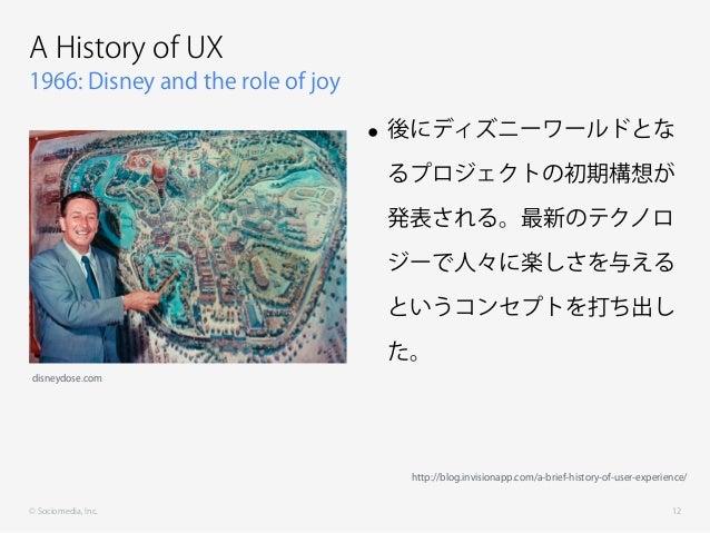 © Sociomedia, Inc. 1966: Disney and the role of joy A History of UX • 後にディズニーワールドとな るプロジェクトの初期構想が 発表される。最新のテクノロ ジーで人々に楽しさを...