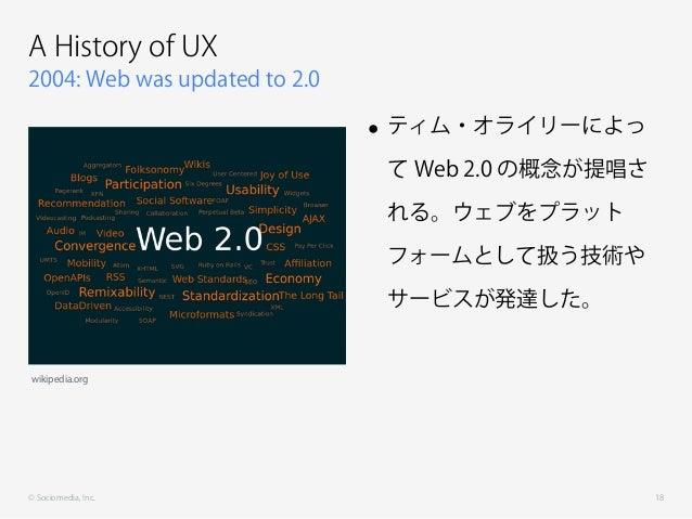 © Sociomedia, Inc. 2004: Web was updated to 2.0 A History of UX • ティム・オライリーによっ て Web 2.0 の概念が提唱さ れる。ウェブをプラット フォームとして扱う技術や ...
