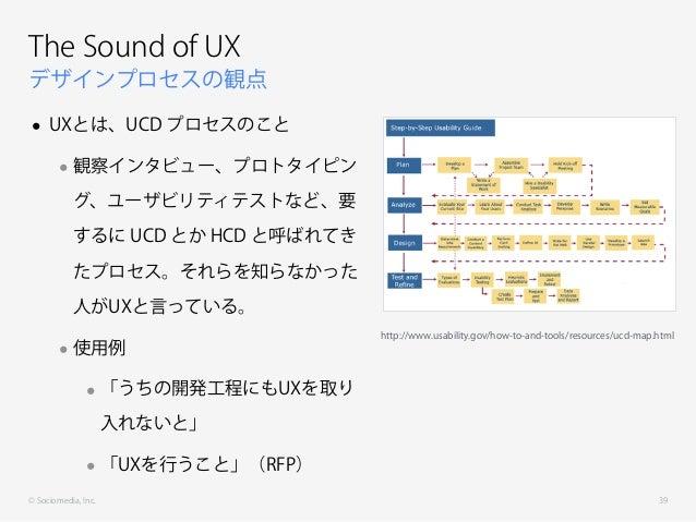 © Sociomedia, Inc. デザインプロセスの観点 The Sound of UX • UXとは、UCD プロセスのこと •観察インタビュー、プロトタイピン グ、ユーザビリティテストなど、要 するに UCD とか HCD と呼ばれてき...