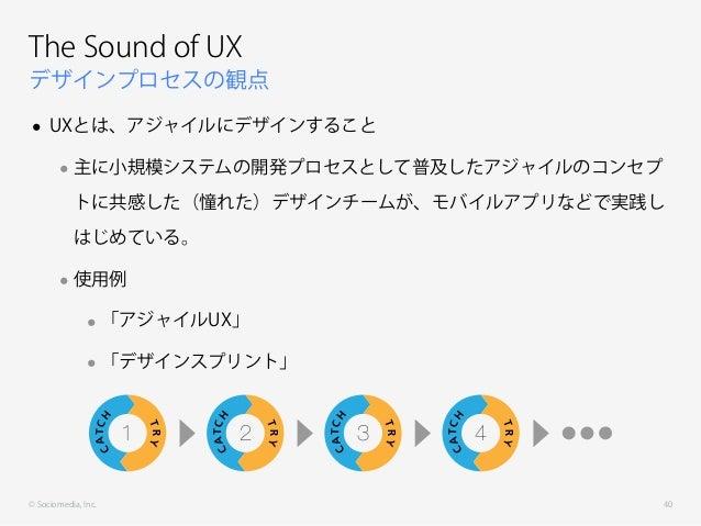 © Sociomedia, Inc. デザインプロセスの観点 The Sound of UX • UXとは、アジャイルにデザインすること •主に小規模システムの開発プロセスとして普及したアジャイルのコンセプ トに共感した(憧れた)デザインチーム...