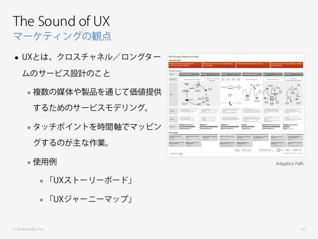 © Sociomedia, Inc. マーケティングの観点 The Sound of UX • UXとは、クロスチャネル/ロングター ムのサービス設計のこと •複数の媒体や製品を通じて価値提供 するためのサービスモデリング。 •タッチポイントを...