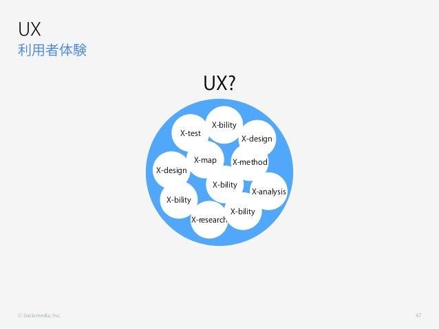 © Sociomedia, Inc. 利用者体験 UX 47 X-test X-map X-method X-bility X-research X-bility X-bility X-design X-analysis X-design X-...