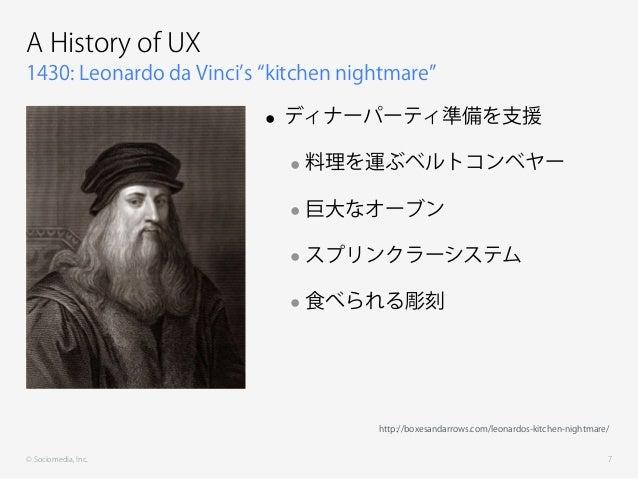 © Sociomedia, Inc. 1430: Leonardo da Vinci s kitchen nightmare A History of UX • ディナーパーティ準備を支援 •料理を運ぶベルトコンベヤー •巨大なオーブン •スプ...
