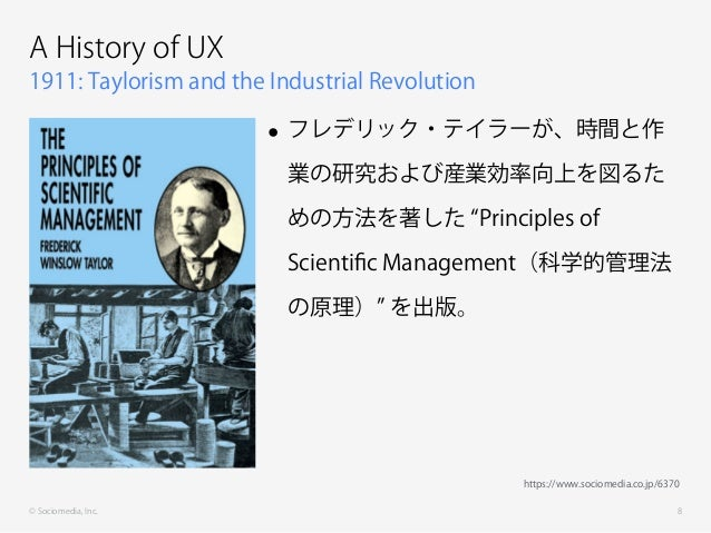 © Sociomedia, Inc. 1911: Taylorism and the Industrial Revolution A History of UX • フレデリック・テイラーが、時間と作 業の研究および産業効率向上を図るた めの方...