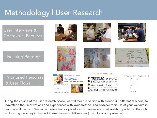 Methodology   User Research  User Interviews &  Contextual Enquires  Isolating Patterns  Isolating patterns  Prioritised P...