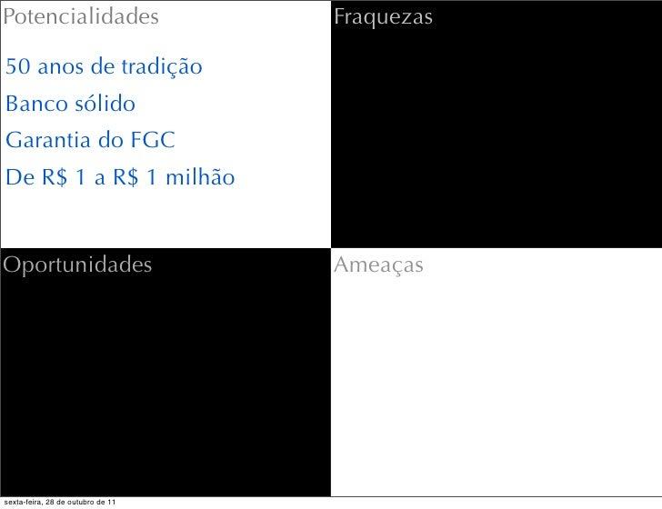 Potencialidades                    Fraquezas50 anos de tradiçãoBanco sólidoGarantia do FGCDe R$ 1 a R$ 1 milhãoOportunidad...