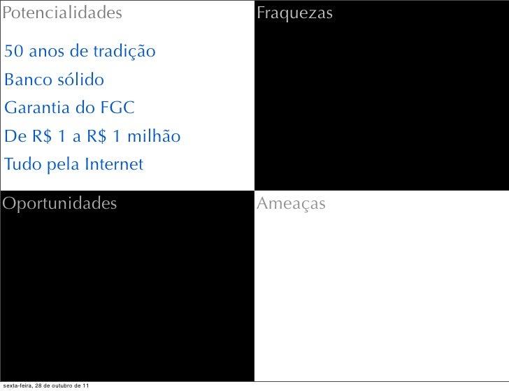 Potencialidades                    Fraquezas50 anos de tradiçãoBanco sólidoGarantia do FGCDe R$ 1 a R$ 1 milhãoTudo pela I...