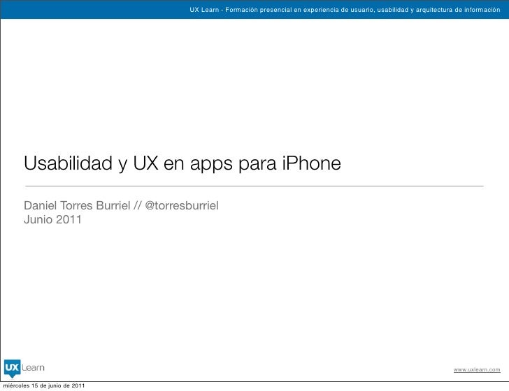UX Learn - Formación presencial en experiencia de usuario, usabilidad y arquitectura de información       Usabilidad y UX ...
