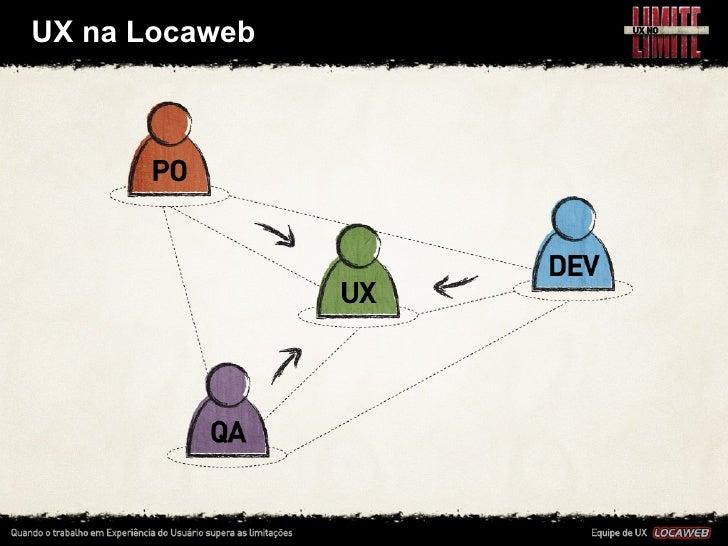 UX na Locaweb•   Na Locaweb a equipe de UX faz parte dos 3mes de produtos •   Assim, os profi...
