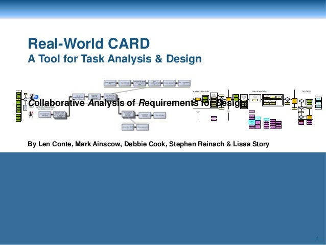 1 Real-World CARD A Tool for Task Analysis & Design By Len Conte, Mark Ainscow, Debbie Cook, Stephen Reinach & Lissa Story...