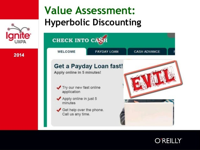 2014 Value Assessment: Hyperbolic Discounting 2014 ๏ We buy or borrow now at the cost of having less money in the future