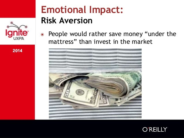 """2014 Emotional Impact: Risk Aversion 2014 ๏ People would rather save money """"under the mattress"""" than invest in the market"""