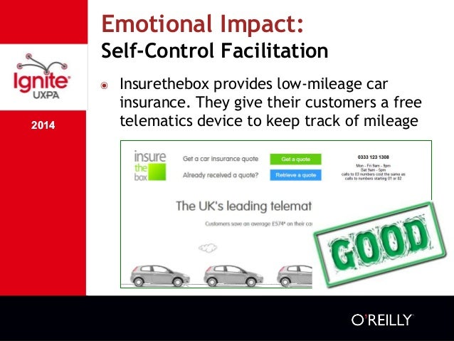 2014 Emotional Impact: Self-Control Facilitation 2014 ๏ Insurethebox provides low-mileage car insurance. They give their c...