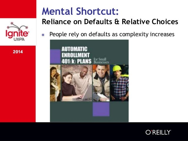 2014 Mental Shortcut: Reliance on Defaults & Relative Choices 2014 ๏ People rely on defaults as complexity increases