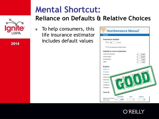 2014 Mental Shortcut: Reliance on Defaults & Relative Choices 2014 ๏ To help consumers, this life insurance estimator incl...